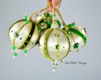 Vintage Hand Beaded Christmas Ornaments ~ Sequin Silk Satin Pins Pearls Handmade Ball Set ~ Green & White