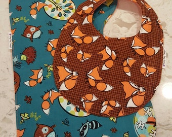 Baby Boy Bib and Burp Cloth Gift Set - Designer Fox and Woodland Creatures, Bib, Contoured Burp Cloth, coordinating, Dads gift