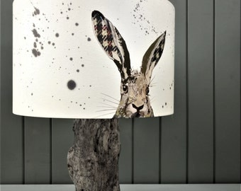 Hare Lampshade -  March Hare Lampshade -  Countryside Decor -  Tweed Decor - Unique Lighting - Gift for Hare lovers - Country Home Decor