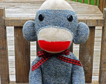 Sock Monkey Doll - Blue Vintage Style Stained Sock Monkey - Handmade in Rockford, Illinois