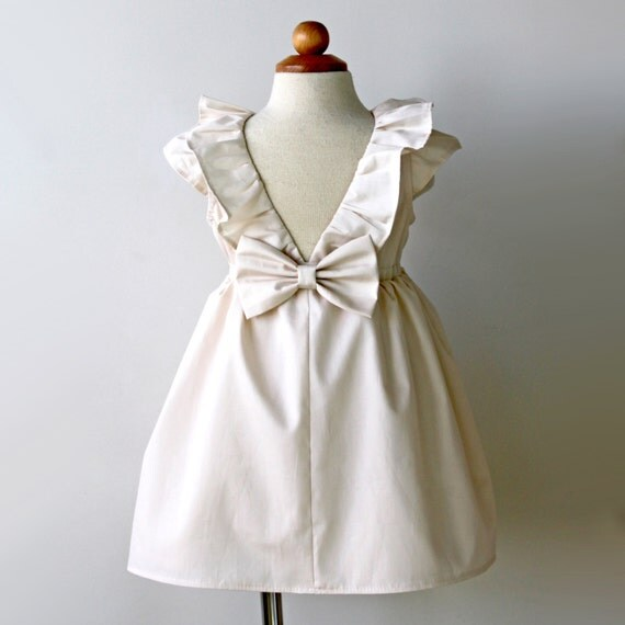 White or Ivory Dress for Toddler or Girl, special occasion, flower girl, 1st communion