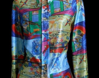 ON SALE Vintage 70s Psychedelic Blouse, 1970s LA Station Arpeja Shirt, Abstract Print Button Front Top, Size S Small