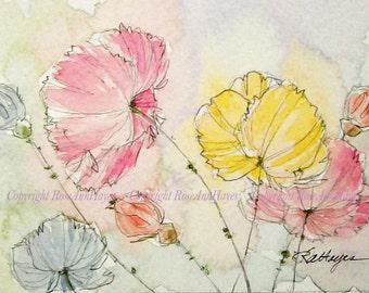 Pastel Poppies Original Watercolor Painting Flowers Gift Floral Garden Wildflowers