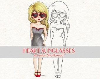 Digital Stamp Heart Sunglasses Girl, Valentines Day, Digi Download, I Love You, Fashion, Scrapbooking Supplies, Clip Art, Graphic