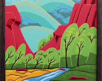 Large Landscape Painting - 24x36 Acrylic Original Wall Art on Canvas - Graphic Abstract Colorado Art by Karen Watkins - Canyon Current