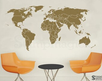 World map countries wall decal borders outlines dry erase world map wall decal countries world map wall art sticker vinyl chalkboard chalk black gumiabroncs Choice Image