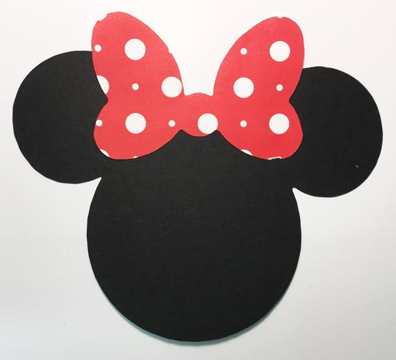 PRIVATE LISTING for LISA - Disney Minnie Mouse 7 Inch Custom Double-Sided Black and Red Polka Dot Bow Die Cuts Mounted On Chipboard