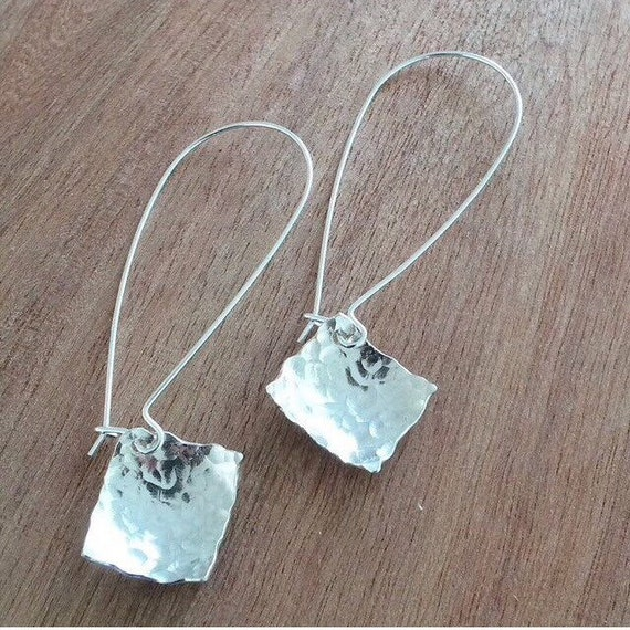 Long Geometric Square Hammered Earrings - Simple - Modern - Elegant - Limited Edition
