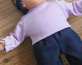 Bitty or Twin Doll Clothes - Pants 3 piece Set - Iridescent Denim Cotton Pants, Lavender Top and Matching Headband
