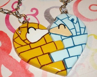 Pokemon - Sandshrew Heart Friendship Necklace Set - Alolan Sandshrew with Kanto Sandshrew