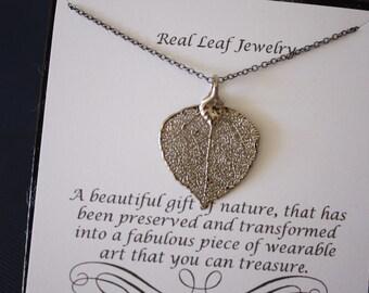 Apsen Leaf Necklace Platinum, Christmas Card Gift, Real Leaf Necklace, Aspen Leaf, Gift, Bridesmaid, Friend, Dipped Leaf, Sterling Silver