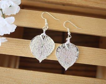 Silver Aspen Leaf Earrings, Real Leaf Earrings, Aspen Leaf, Sterling Silver Earrings, LESM185
