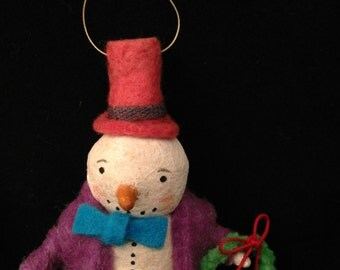 Spun Cotton Snowman ornament with top hat and jacket