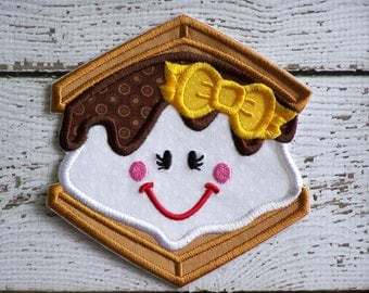 Happy Girl Smores Iron On Or Sew On Fabric Applique