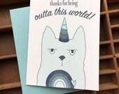 letterpress Caticorn Thanks card