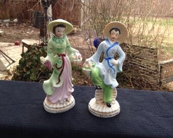 Pair of Vintage Made in Japan Oriental Man & Woman Figurine Figurines