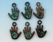 Tiny Spiral Hand Charm, Hamsa, Hand Of Fatima, Green Patina 6-Pc. M406