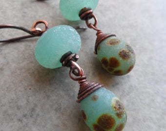 Sand and Sea(foam) ... Petite Artisan-Made Textured Lampwork and Copper Dangle Boho, Rustic, Beachy, Earrings