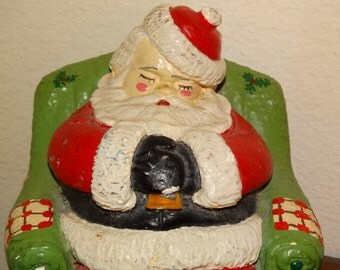Chalkware Santa Doorstop, Santa Claus, Kris Kringle, Sleeping Santa Door Stop, Mid Century Modern, Red & Christmas Green, Christmas Eve