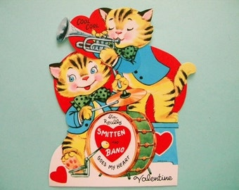 XL Vintage Mechanical Valentine's Day Card Hep Cat Band Drums and Horn Kitty Cats