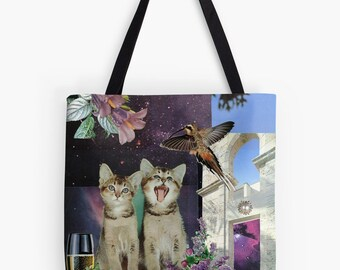 Tote Bag - Gemini StarCat - zodiac astrological collage art for the cat lover and dreamer