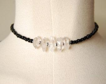 The piece of mind chocker /quartz / black seed bead / minimalist / boho / cosmic / hematite / healing crystal