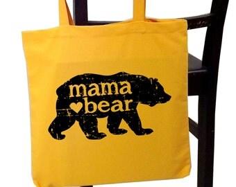 Mother's Day gift - mama bear tote bag - mom tote - screen print tote bag - birthday for mom - new mom gift - grandma tote