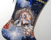 Nativity Scene Christmas Stocking Joseph, Mary, Baby Jesus in  Manager