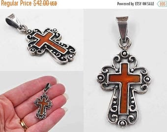 ON SALE Vintage Mexico Sterling Silver & Red Enamel Cross Pendant,  925 Silver, Orange, Scrolled, Openwork, Religious, Beautiful!  #b938