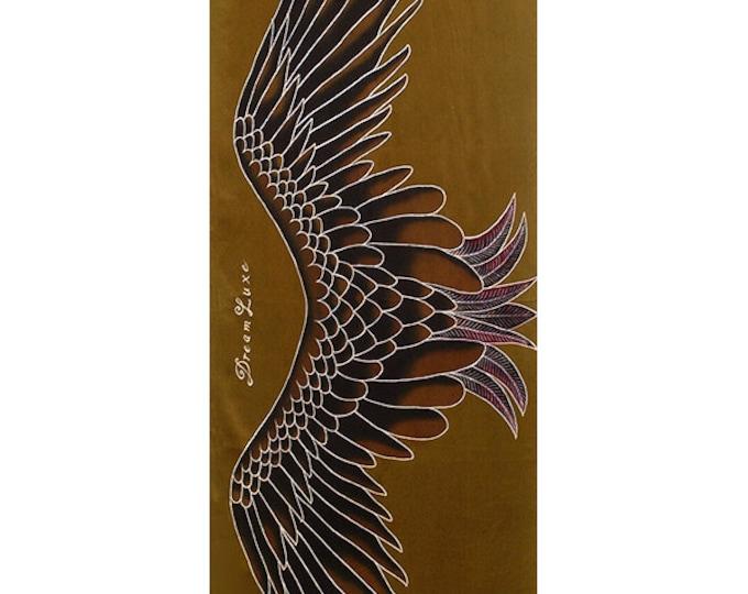 Silk Scarf Handpainted, Wings Scarf, Batik scarf, Scarf handmade, Women silk scarf, Unique scarf, Gold scarf, Hand painted scarf, soft scarf