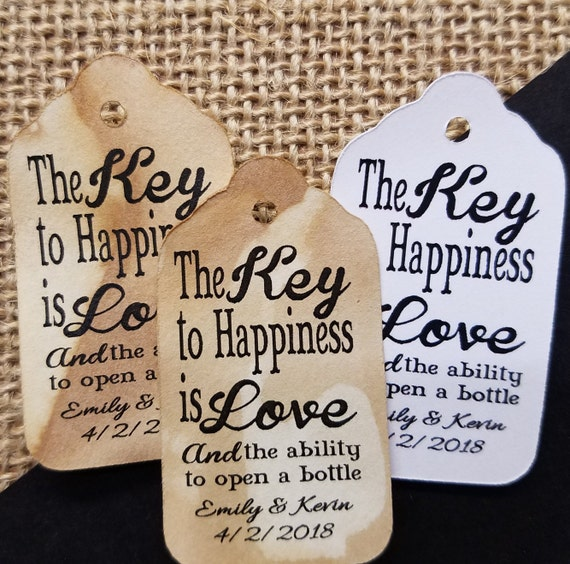 "Key to Happiness is Love SMALL 2"" Favor Tag Choose your quantity bottle opener favor"