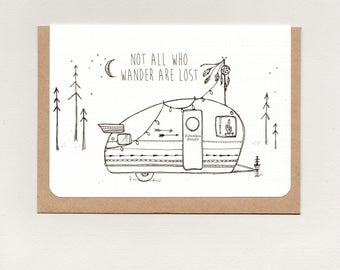 NoT aLL WHo WaNDeR aRe LoST . mini print . art card . greeting card . caravan camper . boho gypsy hippie wanderer tribal hippy . australia