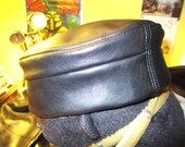 RESERVED for MELLYLOU/ Leather Kufi Hat in Black, Classic Style
