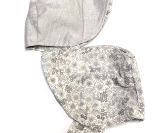 UB2 KIRIGURI soft, grey london lawn & silver metallic-threaded chambray create perfection on a toddler infant sun hat, by Urban Baby Bonnets