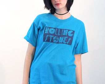 80s Rolling Stones T-Shirt L, Blue Rolling Stones Tee, Fruit of the Loom T-Shirt, Rare Promo Band T-Shirt, Rock Music Tee, Stones Shirt