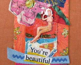 Pin Up BEACH Girl - Nautical Sea - Folk Art 3d Collage - Mixed Media Found Objects Assemblage - Bikini Bathing Suit - mybonny random scraps