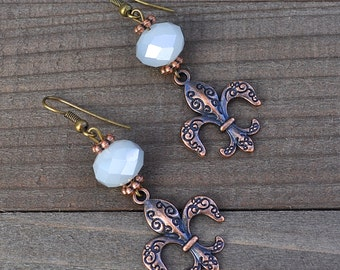 Fleur De Lis Earrings - Fleur De Lis Jewelry - Fleur de lis - New Orleans Fleur De Lis Earrings Matte White Crystal French NOLA