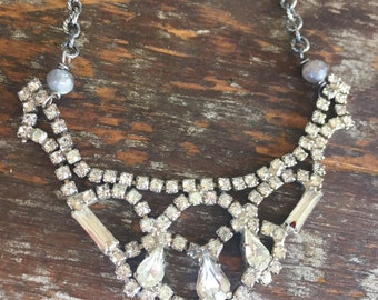 Large Vintage Rhinestone Statement Layering necklace on sterling silver chain, Reclaimed, Upcycled, Gifts under 40, Gifts for Her