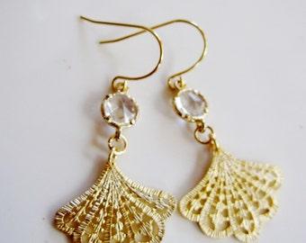 Gold Fan Earrings, Gold Chandelier Earrings, Clear Crystal, Bridesmaid Earrings, Boho Style, Wedding Jewelry, Bridal, Gardendiva