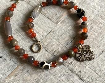 Sterling Silver Newgrange Spirals With Gemstone Beaded Necklace