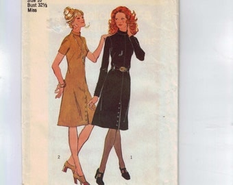 1970s Vintage Sewing Pattern Simplicity 9655 Misses A lIne Dress with Button Front Skirt Size 10 Bust 32 1/2 70s 1971 UNCUT