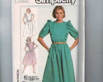 1980s Vintage Sewing Pattern Simplicity 7426 Misses Easy Pullover Dress with Ruffles and Sleeve Variations Size 8 10 12 Bust 31 32 34 80s