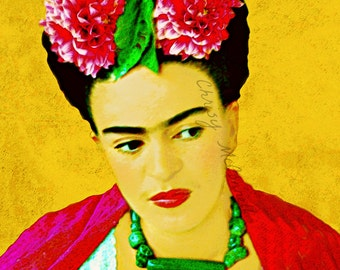 Frida Kahlo With Dahlias Surreal Art Print Small to Poster Instant Digital Download Original Photomontage Flowers Pink Red Green Gold Black