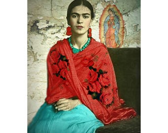 Frida Kahlo Art Poster Print Boho Instant Digital Download All Sizes Rebozo Roses Virgin Mary Vintage Modern Home Deco Best Selling Items