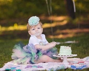 Baby Headband, Mint and Gold Headband, 1st Birthday Outfit, First Birthday Outfit, Newborn Headband, Girls Headband, Toddler Headband