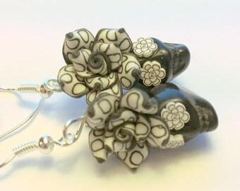 Sugar Skull Earrings Day of the Dead Skull and Rose Earrings in Black and White Polkadot