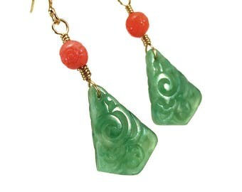 Art deco earrings in jade green and coral