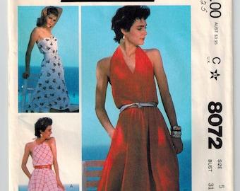 Vintage 80s Strapless or Halter Summer Dress Sewing Pattern Petite Size 5 Bust 31 Flared Skirt Pleated Halter Neckline Side Seam Pockets