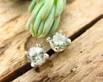 Green Montana Sapphire Studs - Genuine Montana Sapphire Stud Earrings, Real 14k Gold, Platinum, or Sterling Silver - 3mm
