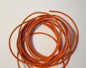 Leather Cord, Orange Leather, 2mm Round Lacing, Dyed Leather, Precut Bundle, Choose 2 feet, 4 feet or 6 feet, olc02